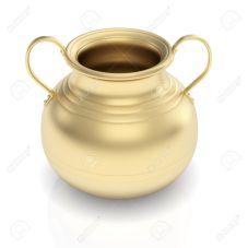 Golden pot on white